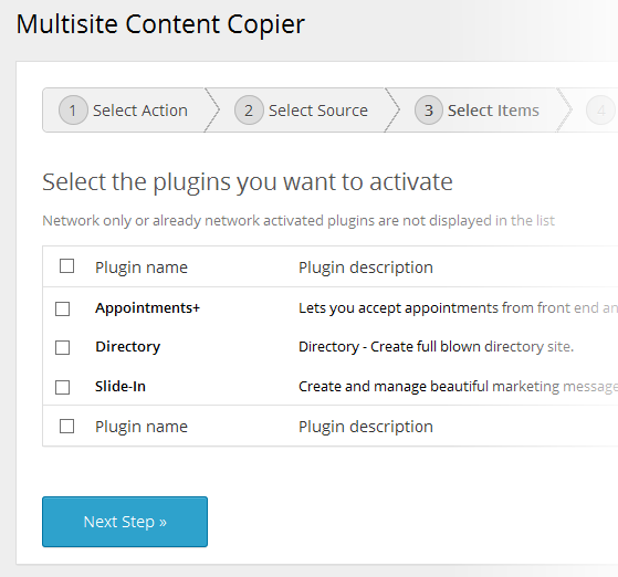Multisite Content Copier - Activate Plugins