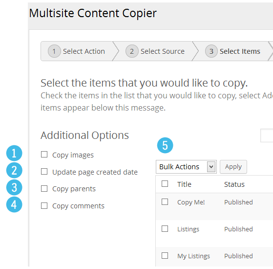 Multisite Content Copier - Select Items