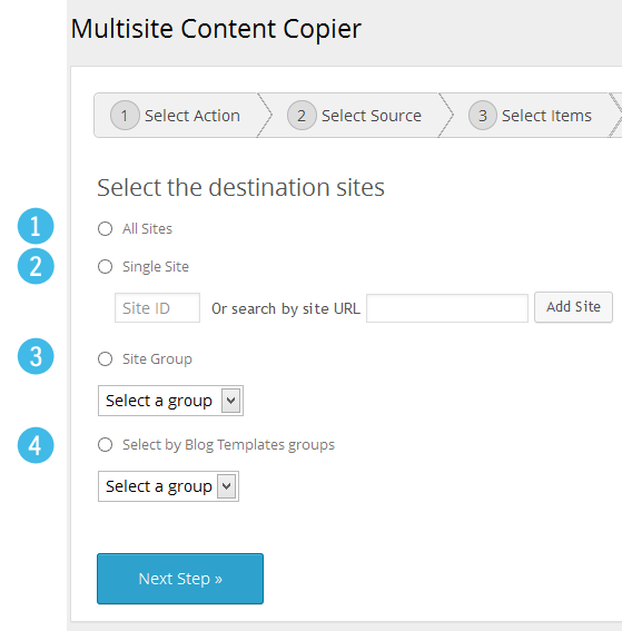 Multisite Content Copier - Select Destination