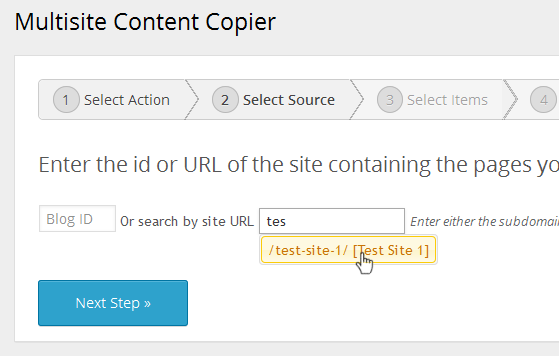 Multisite Content Copier - Select Source