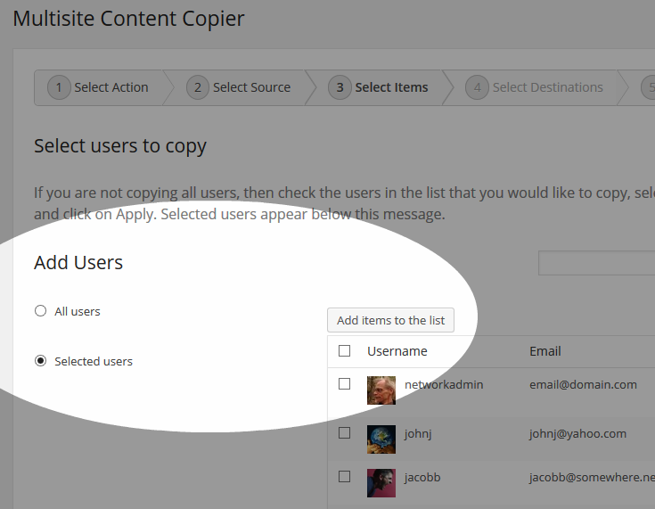 Multisite Content Copier - Copy Users