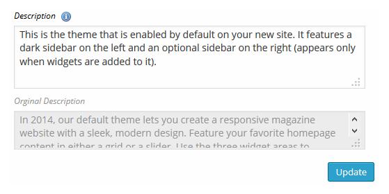Multisite Theme Manager Edit Description