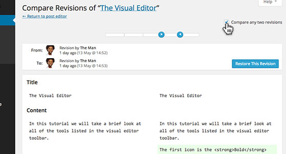 Click 'compare any two revisions' to view versions side-by-side.