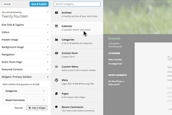 Add and reorder widgets while viewing its visual impact on your layout.