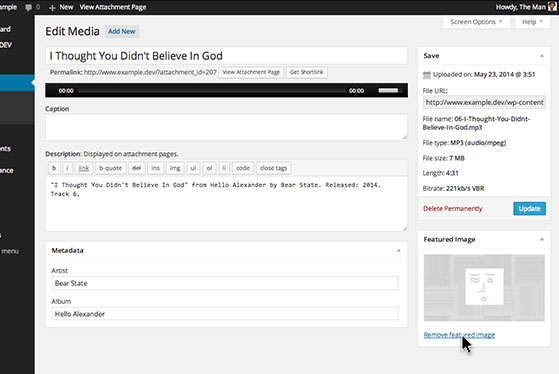 Give your audio or video files thumbnails by setting a featured image in the 'Media Library'.