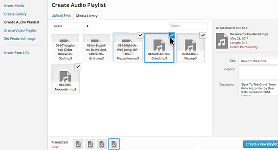 Click 'Create Audio Playlist' and select files for your playlist.
