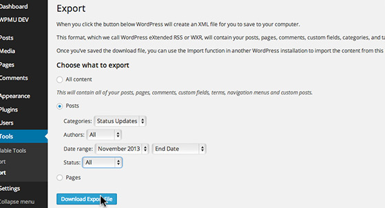 Export 'Posts' or 'Pages' as an XML file