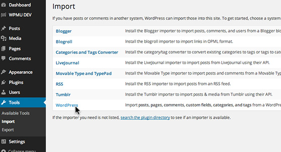 Import content from WordPress sites or other systems.