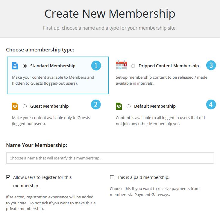 M2 Memberships Create New
