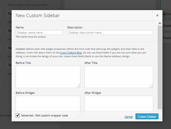 Custom Sidebars Pro Create Sidebar Advanced