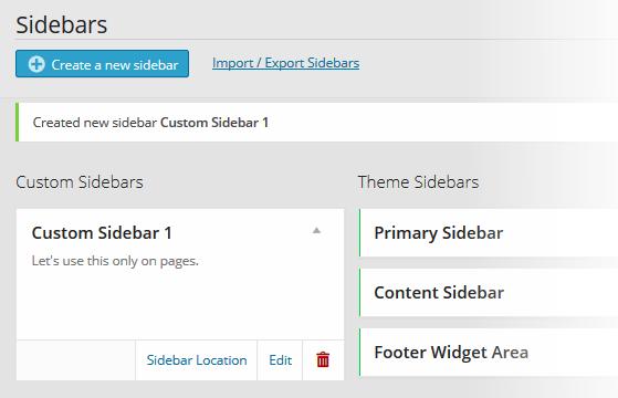 Custom Sidebars Pro New Sidebar Created