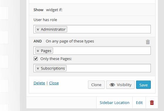 Custom Sidebars Pro Multiple Visibility Rules