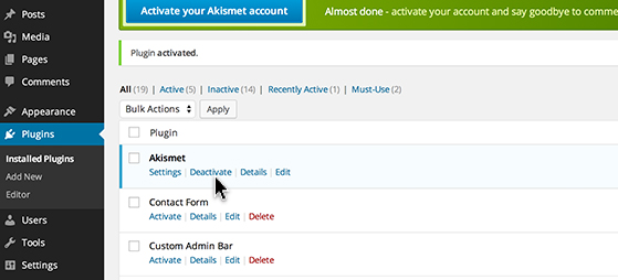 Click 'Deactivate' to turn off the feature.