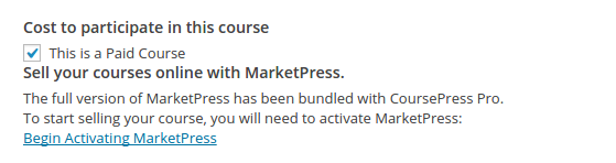 CoursePress Pro - Activate MarketPress