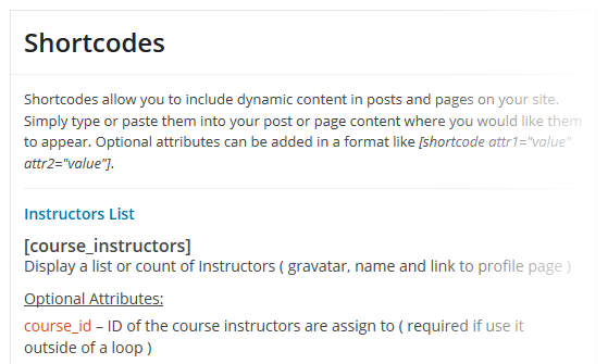 CoursePress - Settings - Shortcodes