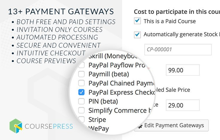 MarketPress and WooCommerce integration let you sell your courses from any of 100+ payment gateways.