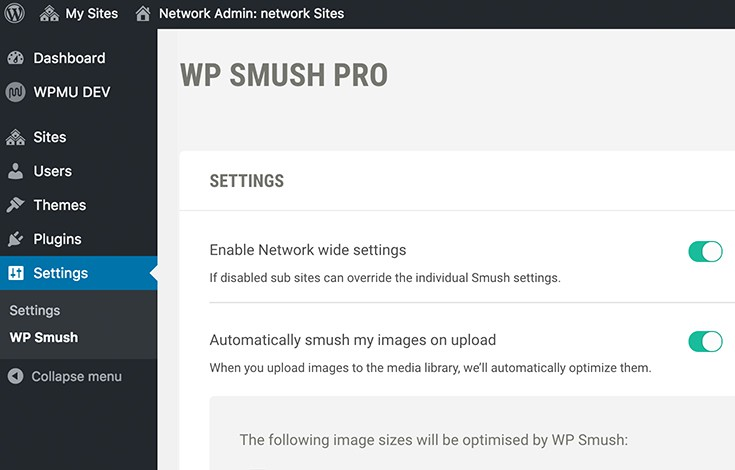 Manage Smush settings globally for your entire Multisite network.