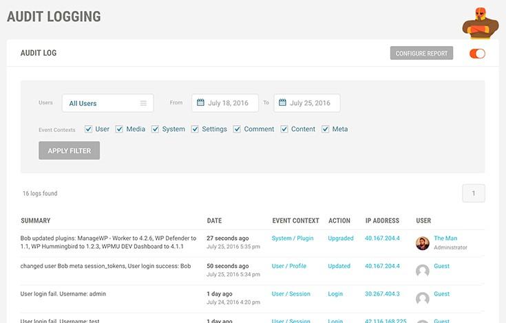 Audit Logging Screenshot