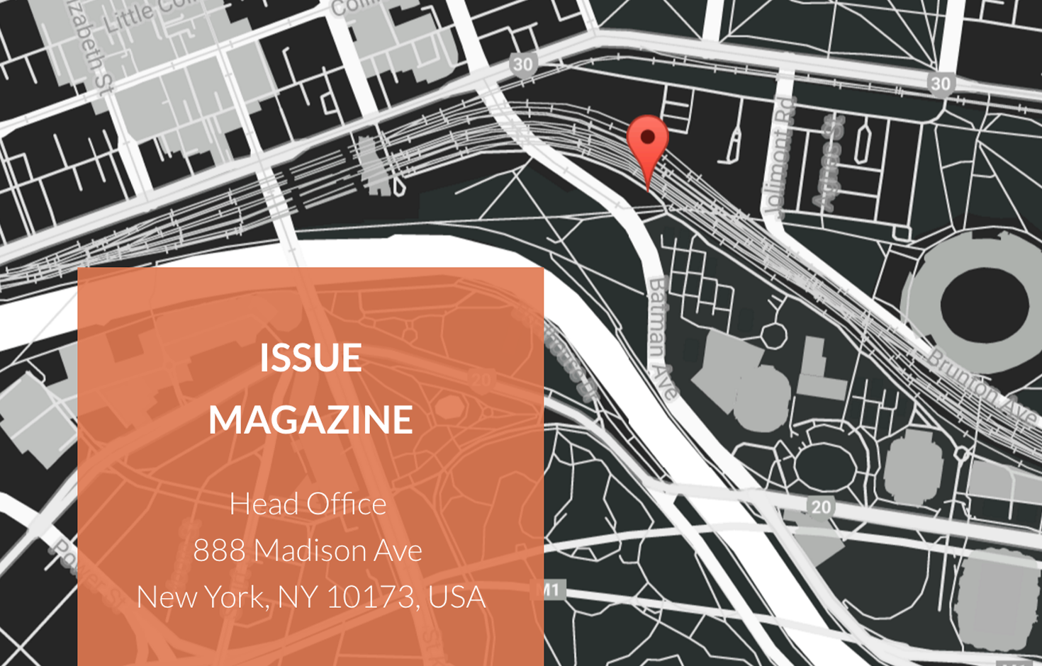 Issue includes a huge styled Google map to fit your brand and help you stand out.