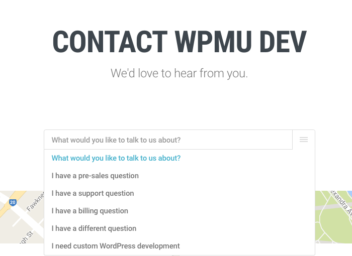 Using the contact form-Contact WPMU DEV dropdown