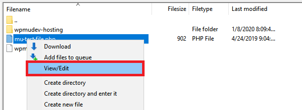 Filezilla View-Edit file option