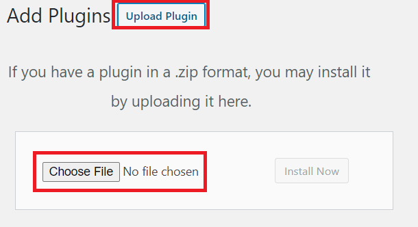 Upload plugin button and choose file