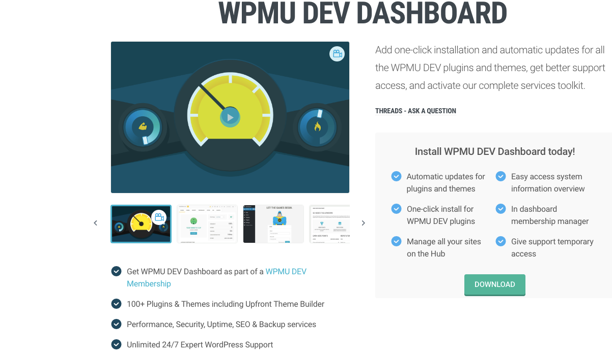 WPMU DEV Dashboard download button