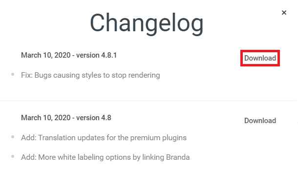 WPMU DEV Dashboard plugin changelogs and download buttons