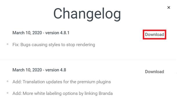 WPMU DEV Dashboard plugin changelogs and download buttons