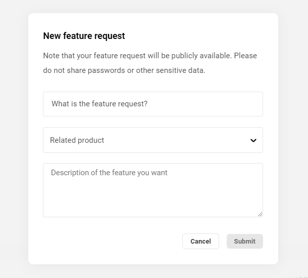 Features & Feedback forum request form