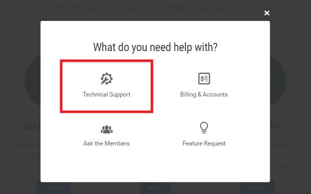 WPMU DEV get live tech support option