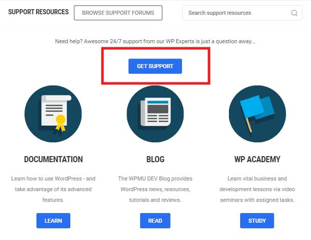 WPMU DEV get live support button