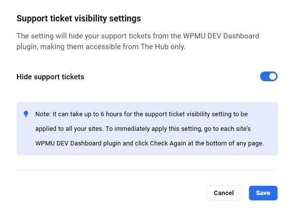 WPMU DEV My Tickets visibility settings
