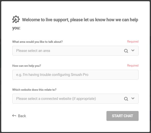 WPMU DEV live chat start survey