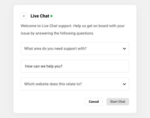 Fill in the live chat prescreen
