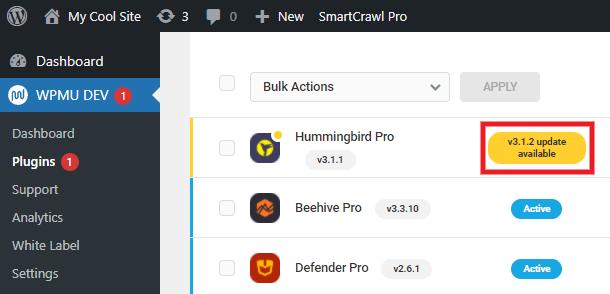 Plugin updates in WPMU DEV Dashboard