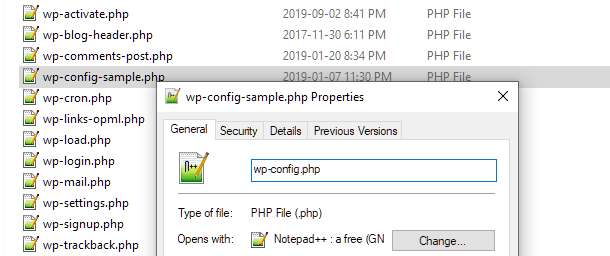 Rename wp-config-sample file