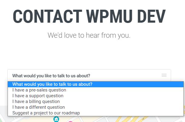WPMU DEV contact form options