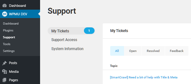 Support tickets in WPMU DEV Dashboard plugin