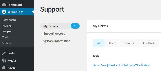 Support tickets in WPMU DEV Dashboard plugin
