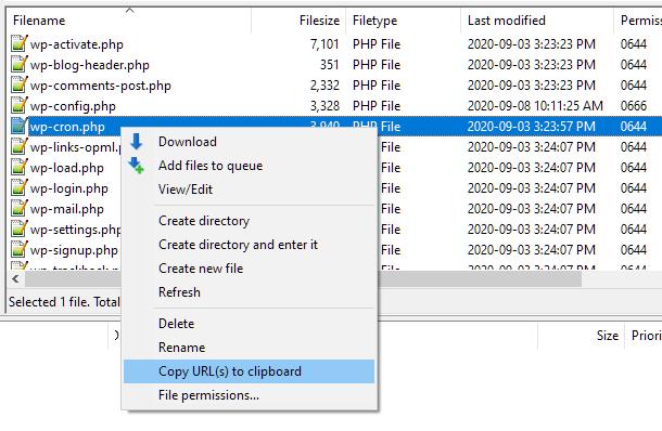 Copy wp-cron URL in Filezilla