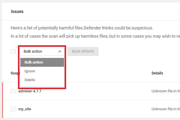 bulk ignore and bulk delete feature