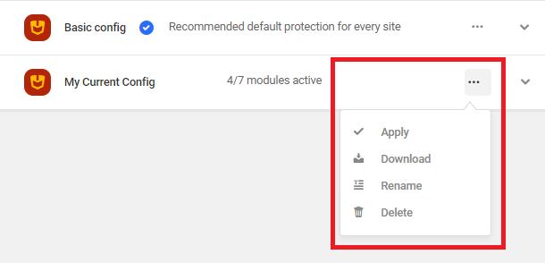 configuration actions list