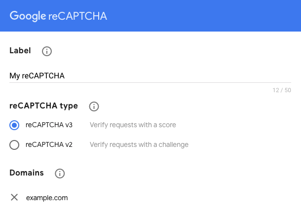 create your Google reCAPTCHA API keys and then register your website