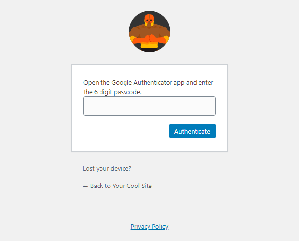 Enter 2 factor authentication code in login screen on site