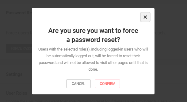Confirm password reset