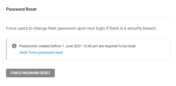 Password reset enabled confirmation