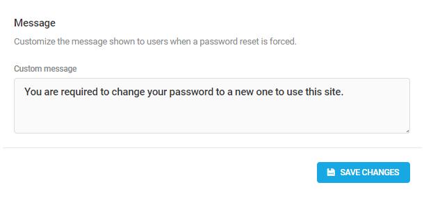 Password reset message