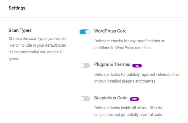 Malware scan settings in Defender