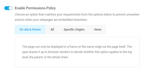 Enable permissions policy security header in Defender